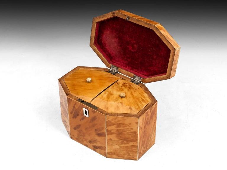George III Period 18th Century Octagonal-Shaped Blonde Tortoiseshell Tea Caddy For Sale 1