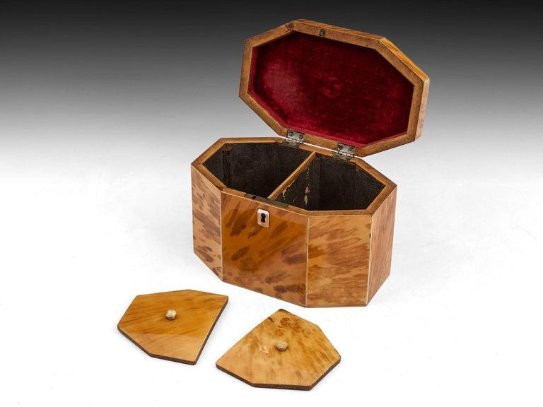 George III Period 18th Century Octagonal-Shaped Blonde Tortoiseshell Tea Caddy For Sale 2