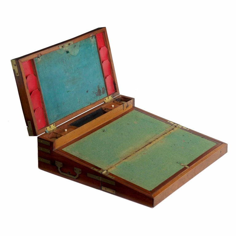 """George III Period Brass-Bound Campaign Writing Slope """"Captain's Box"""", circa 1790"""