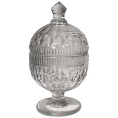 George III Period English Cut Glass Honey Jar and Cover