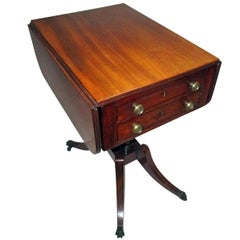 George III Period English Mahogany Drop-Leaf Side Work Table