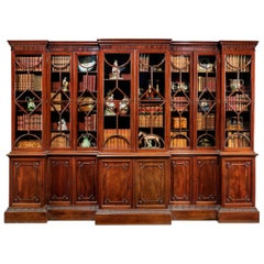 George III Period Mahogany Double Breakfront Bookcase