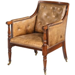 George III Period Mahogany Framed Bergère Chair Upholstered in Cowhide
