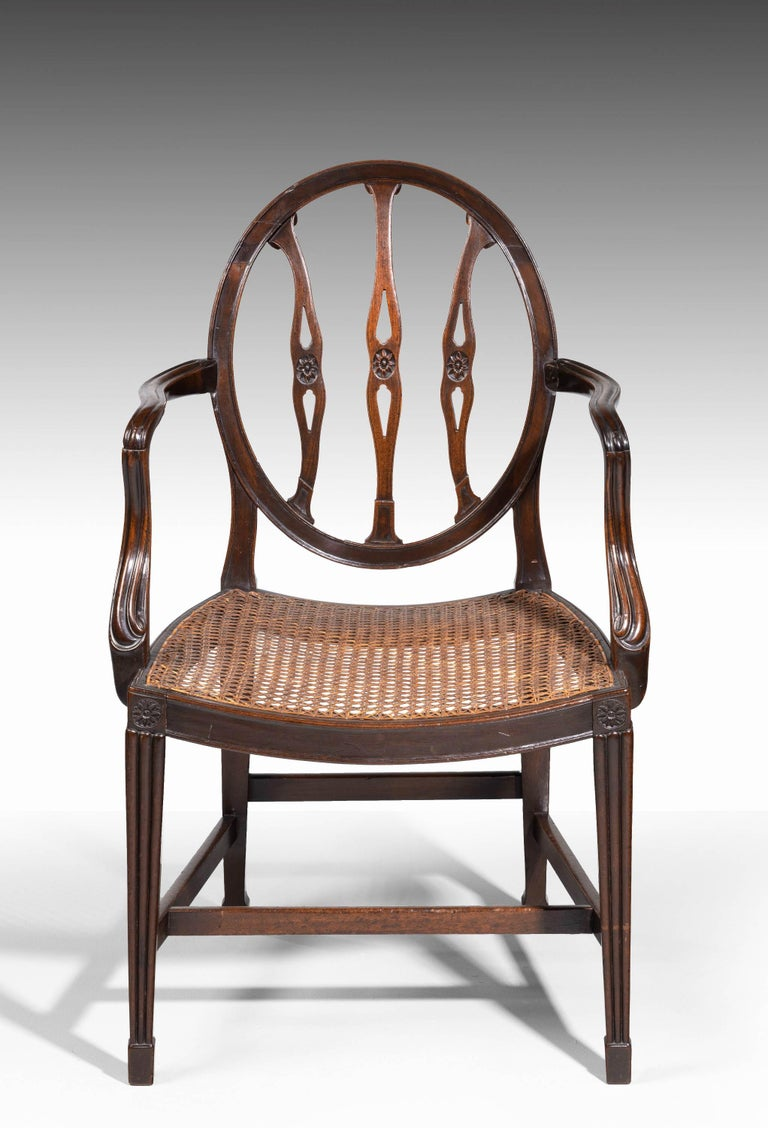 George III Period Mahogany Framed Elbow Chair In Good Condition For Sale In Peterborough, Northamptonshire