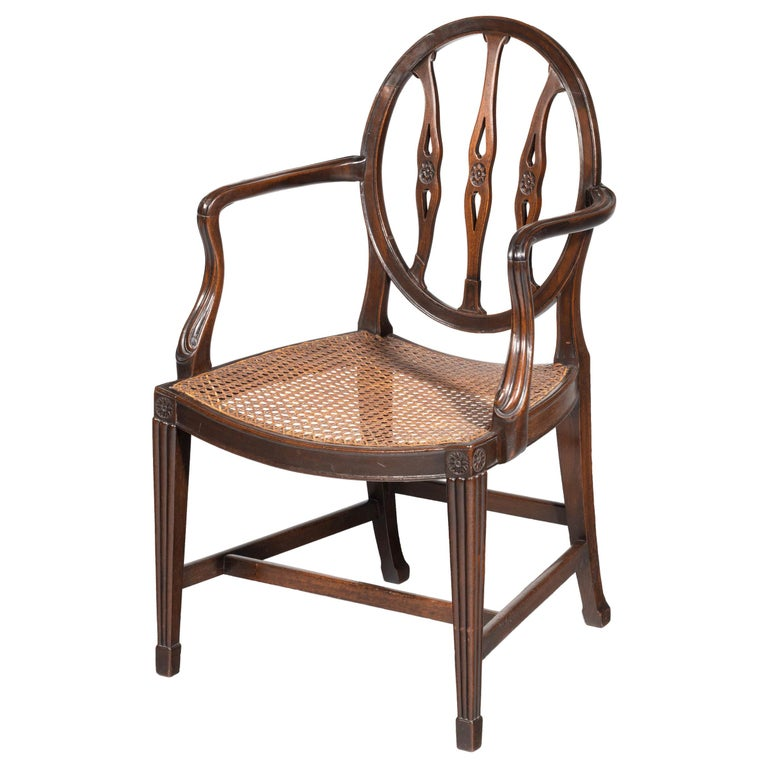 George III Period Mahogany Framed Elbow Chair For Sale