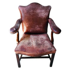 George III Period Mahogany & Leather Upholstered Open Armchair, c.1800