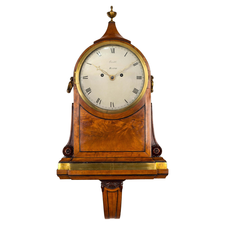 18th Century Antique George III Satinwood Bracket Clock by James Evill of Bath