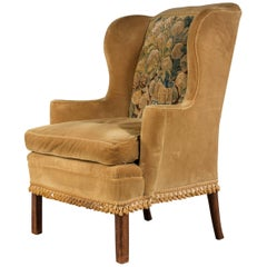 George III Period Wing Chair Incorporating a Verdure Tapestry Panel