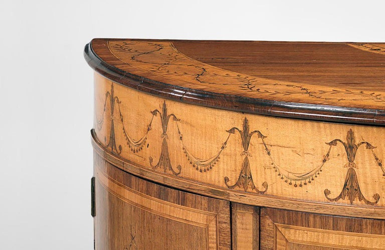 George III Polychrome-Decorated Marquetry Demilune Commode 3
