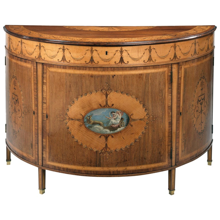 George III Polychrome-Decorated Marquetry Demilune Commode 1