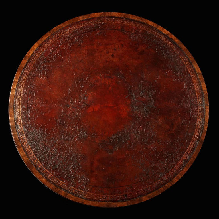 English George III Rosewood and Mahogany Drum Table / Centre Table For Sale