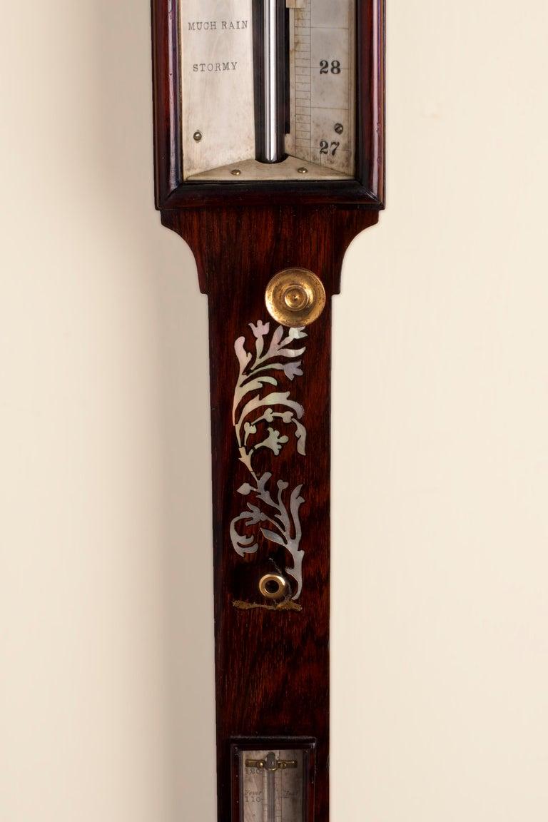 Dutch George III Rosewood Inlaid Marine Stick Barometer For Sale