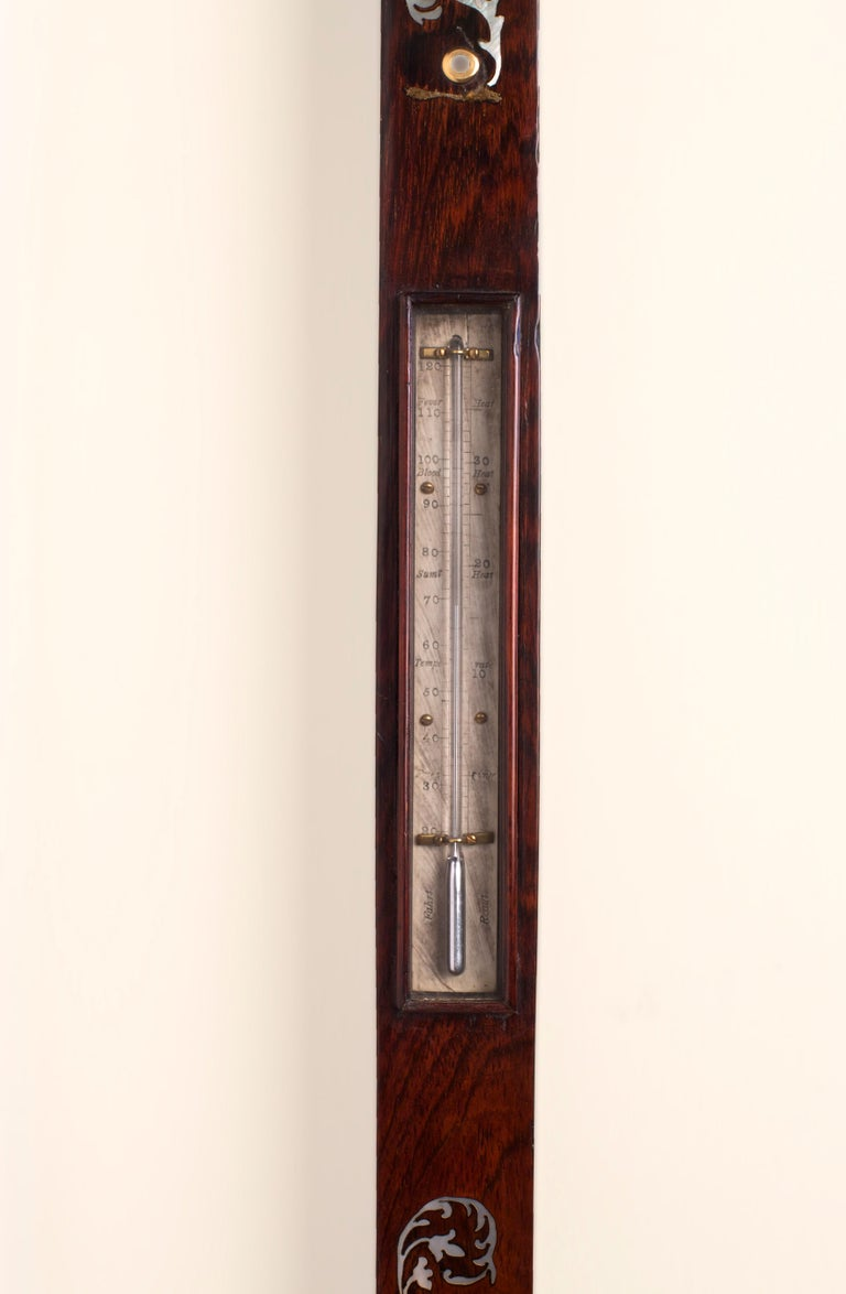 George III Rosewood Inlaid Marine Stick Barometer In Good Condition For Sale In Norwich, GB