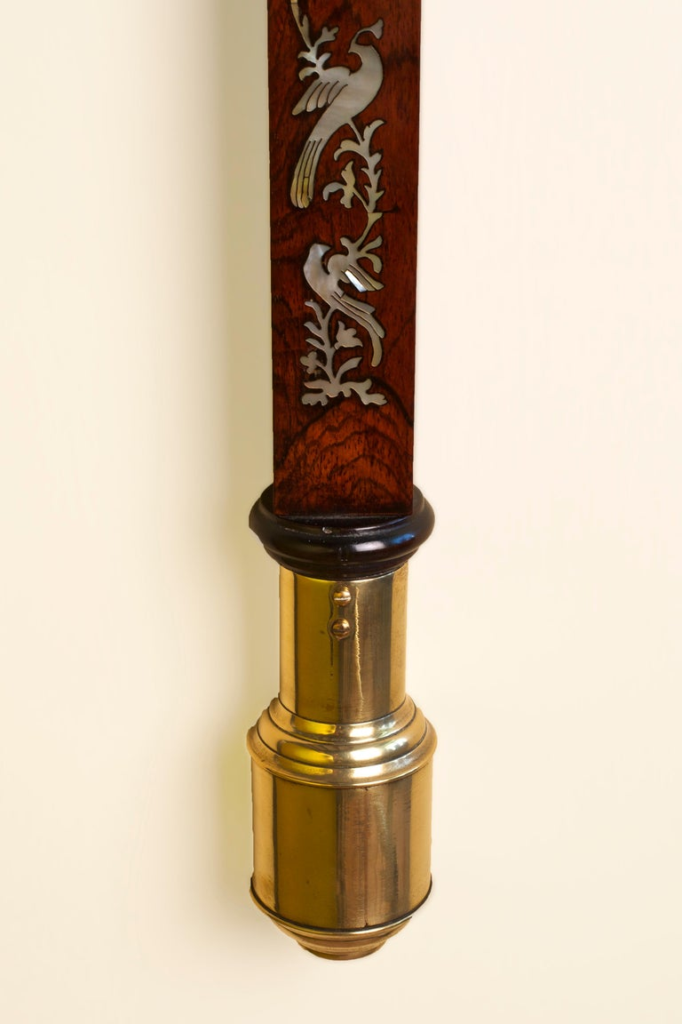 George III Rosewood Inlaid Marine Stick Barometer For Sale 1