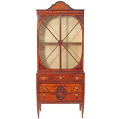 George III Satinwood and Mahogany Cabinet Attributed to Gillows