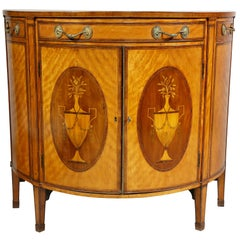 George III Satinwood and Marquetry Demilune Commode