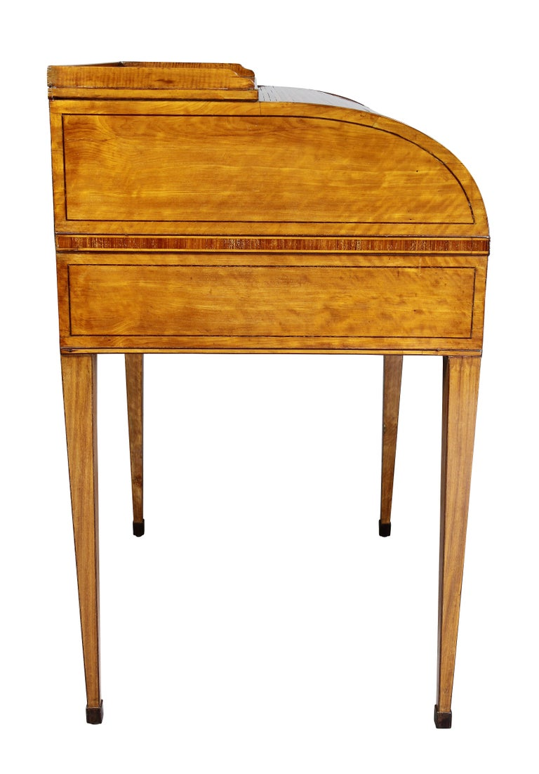 George III Satinwood and Rosewood Tambour Writing Table For Sale 8