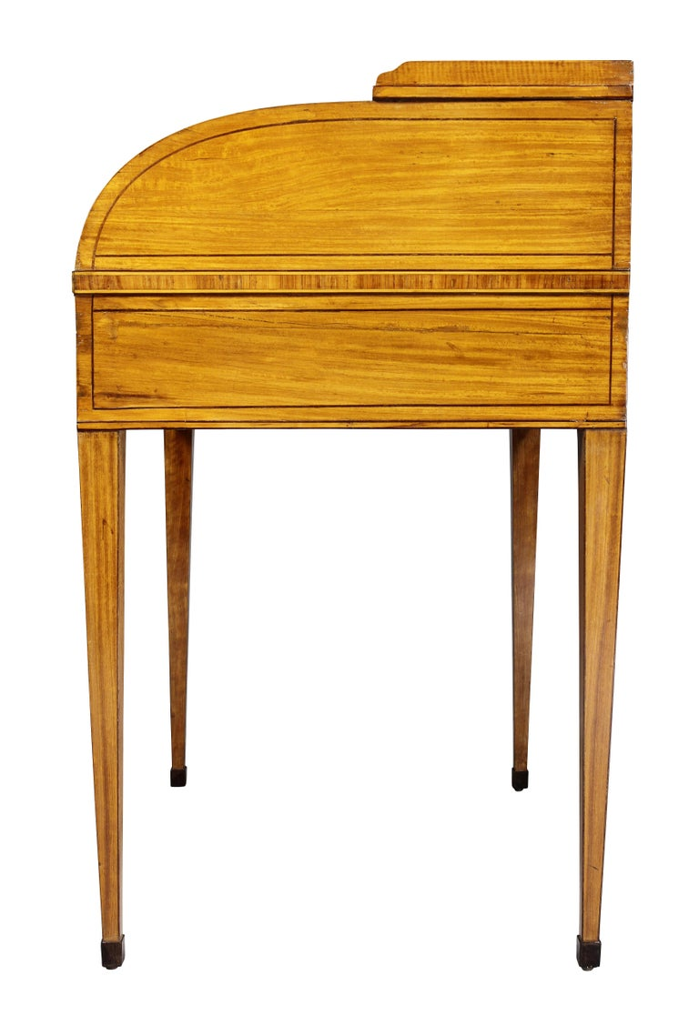 George III Satinwood and Rosewood Tambour Writing Table For Sale 9