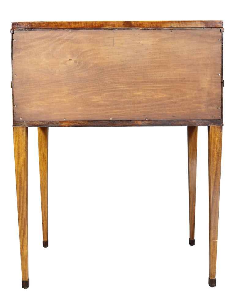 George III Satinwood and Rosewood Tambour Writing Table For Sale 10