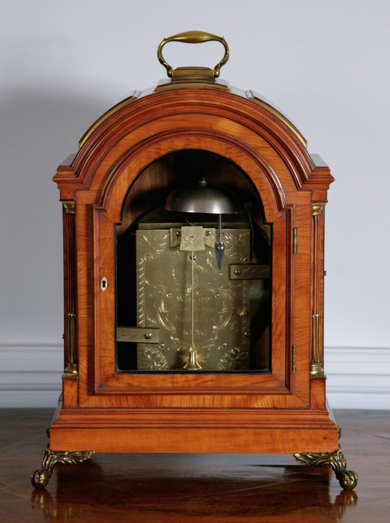 George III satinwood bracket clock by Thomas Wright of Poultry, London