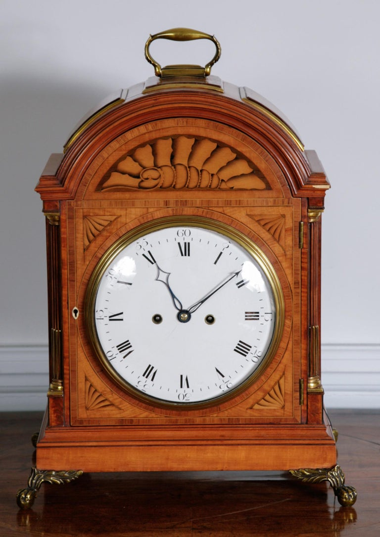 18th Century Satinwood Bracket Clock by Thomas Wright of Poultry London