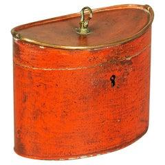 George III Scarlet Tole Tea Caddy