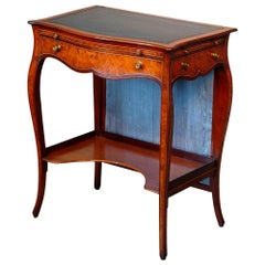 George III Serpentine Inlaid Writing Dressing Table