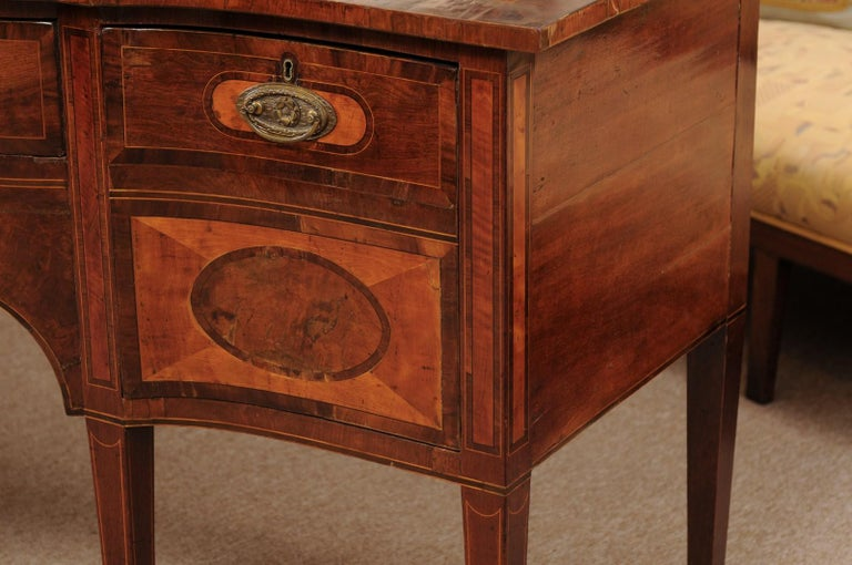 George III Serpentine Mahogany & Satinwood Inlaid Sideboard, ca. 1800 For Sale 4