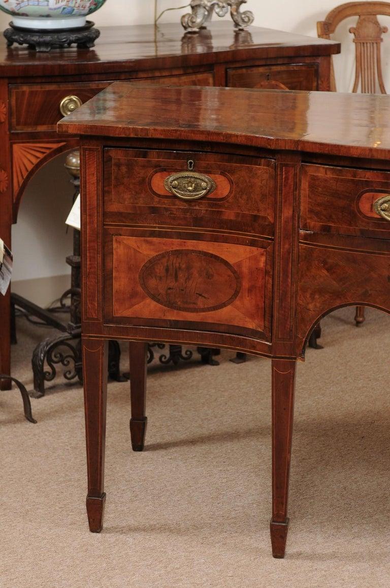 English George III Serpentine Mahogany & Satinwood Inlaid Sideboard, ca. 1800 For Sale