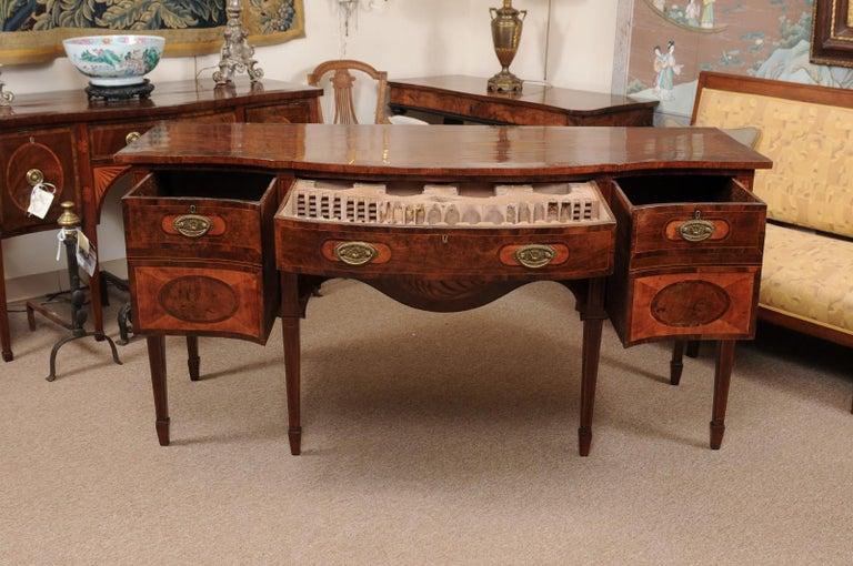 Inlay George III Serpentine Mahogany & Satinwood Inlaid Sideboard, ca. 1800 For Sale
