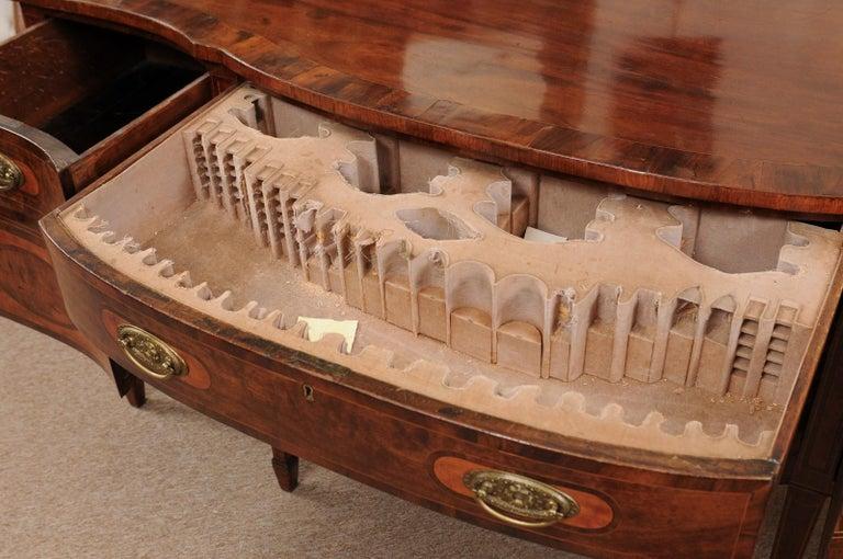 George III Serpentine Mahogany & Satinwood Inlaid Sideboard, ca. 1800 In Good Condition For Sale In Atlanta, GA