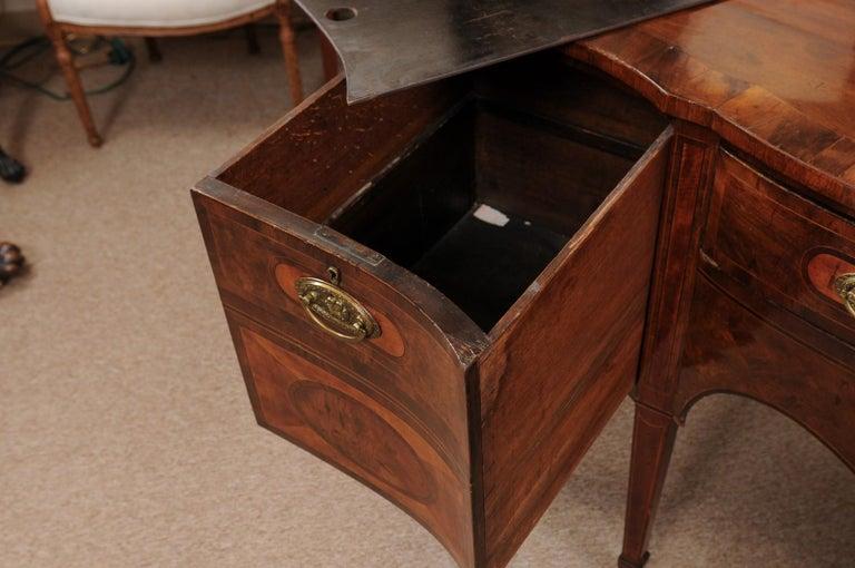 Early 19th Century George III Serpentine Mahogany & Satinwood Inlaid Sideboard, ca. 1800 For Sale