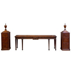 George III Serving Table or Console Server with Matching Pedestals of Mahogany