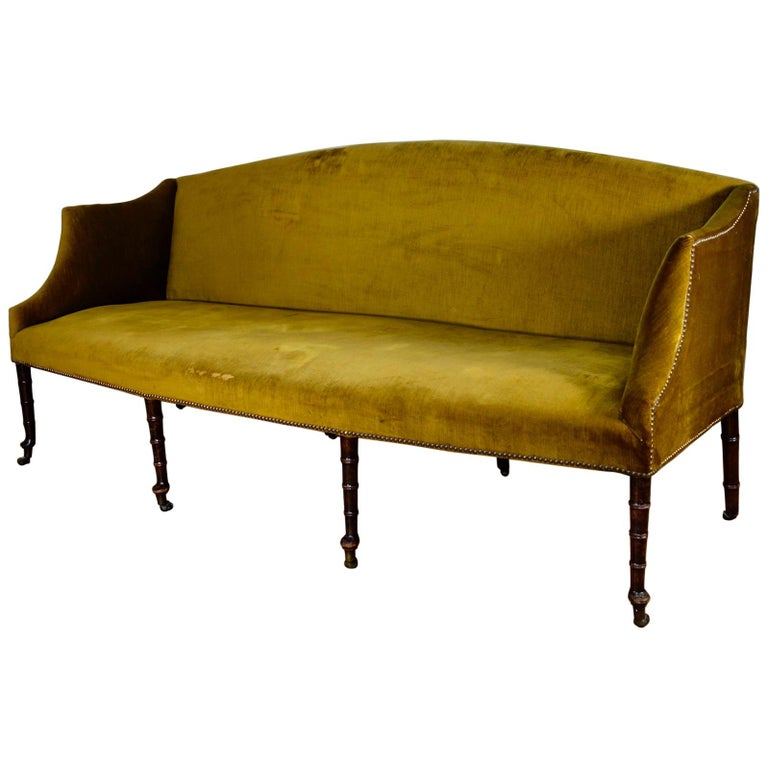 A George III Settee, Sofa Faux Bamboo Mahogany Legs Yellow - Georgian For Sale