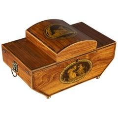 George III Sheraton Period Tulipwood & Kingwood Cross-Banded Sewing Box