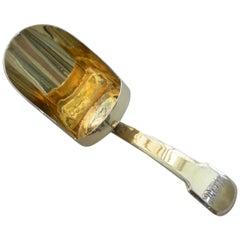 George III Silver Gilt 'Scoop' Caddy Spoon. By Josiah Snatt, London, 1802