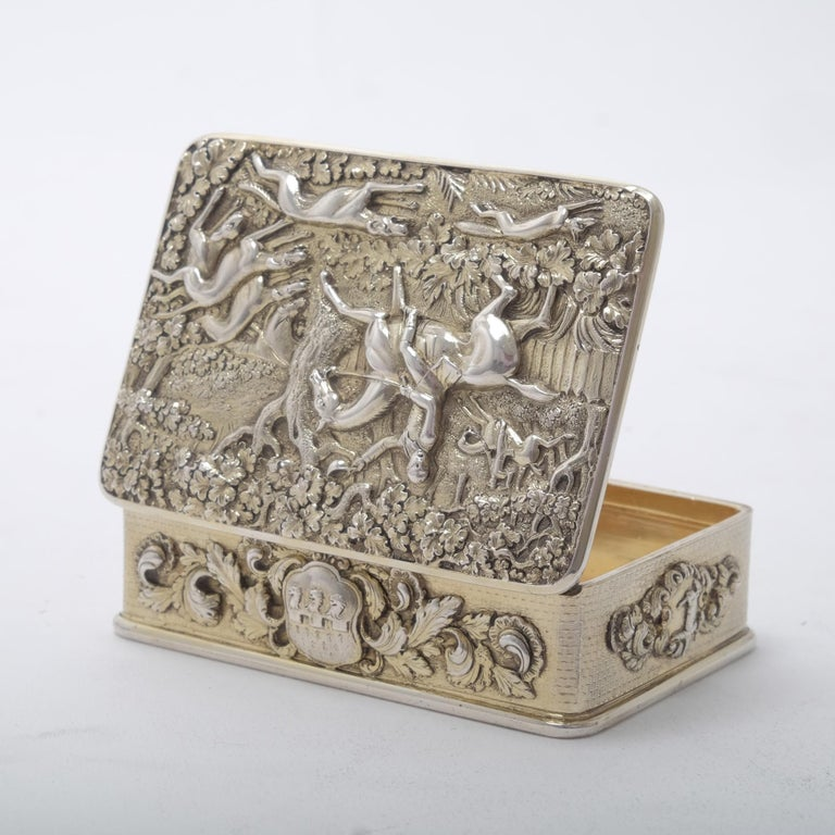 Sterling Silver George III Silver Gilt Snuff Box with Hunting Scene For Sale