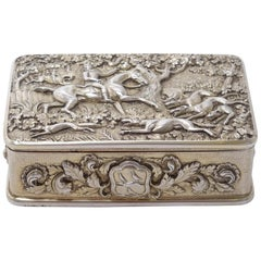 George III Silver Gilt Snuff Box with Hunting Scene