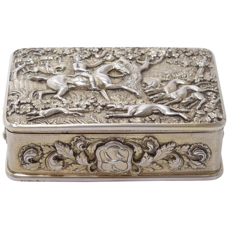 George III Silver Gilt Snuff Box with Hunting Scene For Sale