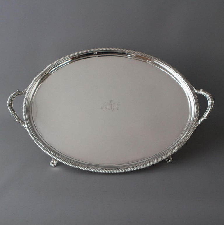 George III Silver Tea/Drinks Tray, London, 1811 For Sale 7