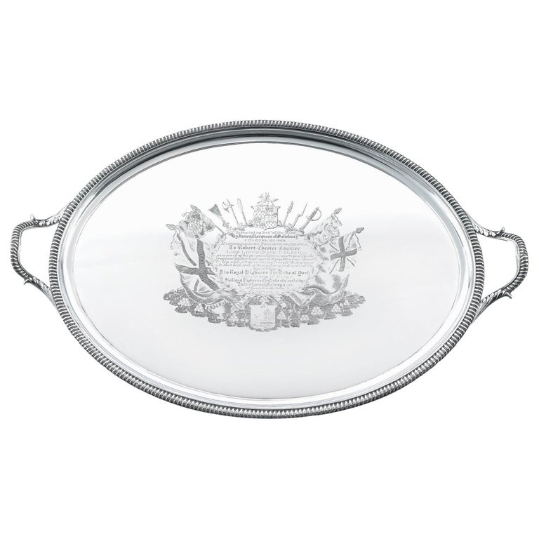 George III Silver Tray for Lt. Robert Chester For Sale
