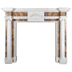 George III Statuary and Sienna Marble Fireplace