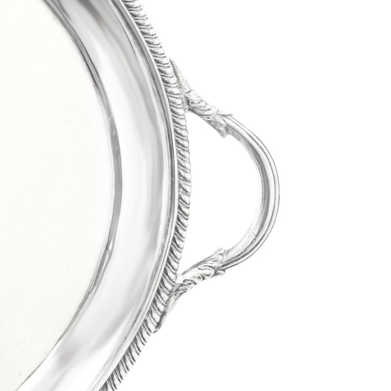 George III Sterling Silver Footed Oval Tray, London, 1803-1804 For Sale 4