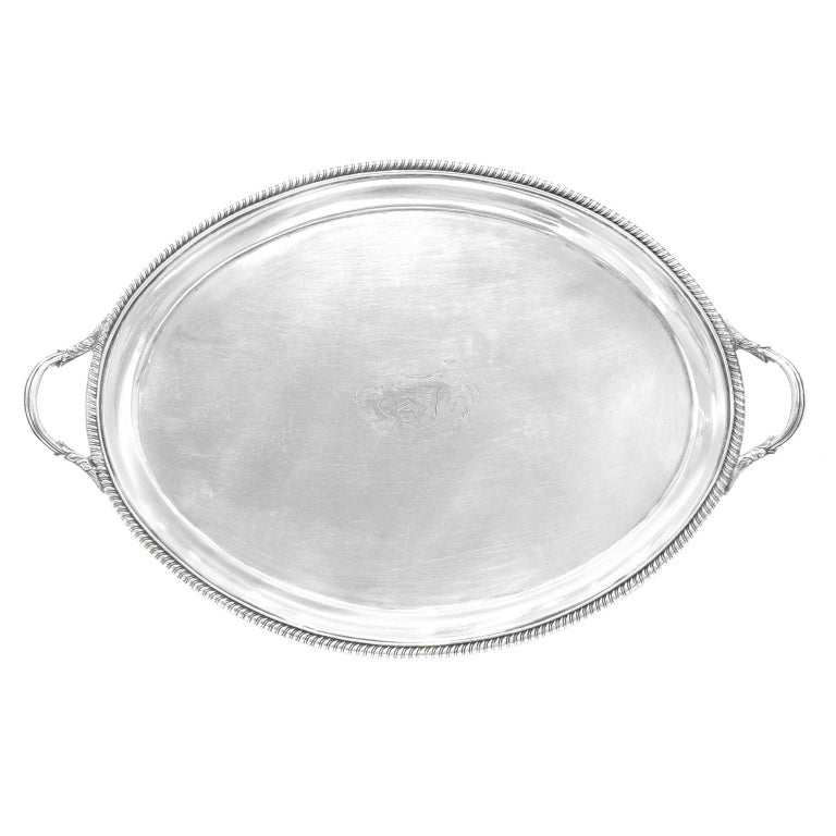 George III Sterling Silver Footed Oval Tray, London, 1803-1804 For Sale 5