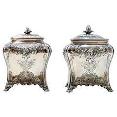 George III Sterling Silver Graduated Tea Caddies London 1764 Peter Gillois, Pair