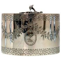 George III Sterling Silver Oval Tea Caddy London 1776 John Carter
