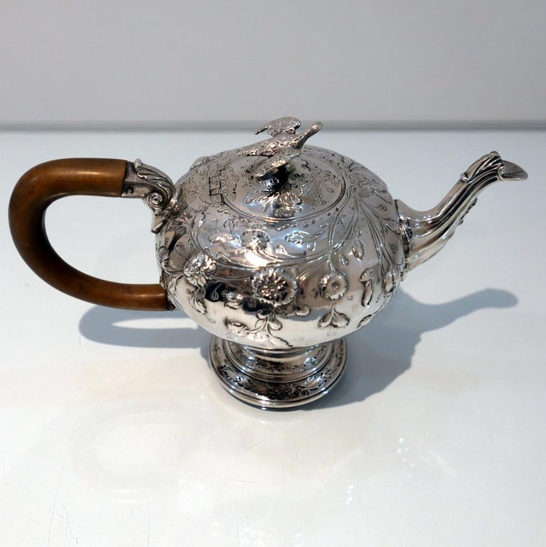 George III Sterling Silver Rococo Teapot London 1763 William & Robert Peaston For Sale 2