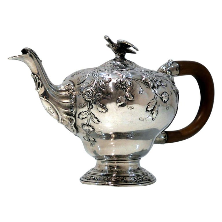 George III Sterling Silver Rococo Teapot London 1763 William & Robert Peaston For Sale