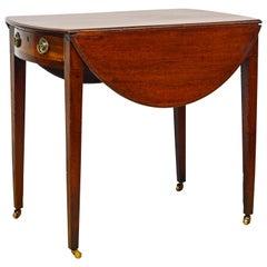 George III String Inlaid Mahogany Oval One-Drawer Pembroke Table, circa 1820