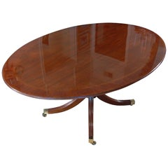 George III Style Banded Mahogany Oval Dining Room Table on Single Pedestal Base